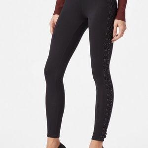 JustFab Lace Up Corset Leggings Pants Black Large